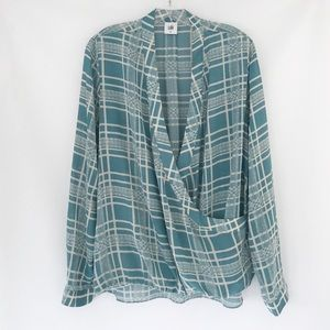 Cabi Windowpane Wrap Blouse